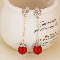 红色珍珠耳环新娘结婚耳钉无耳洞耳夹长款流苏耳坠女耳饰品