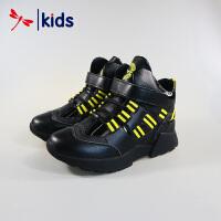 红蜻蜓童鞋男童中大童高帮真皮皮鞋冬季棉鞋