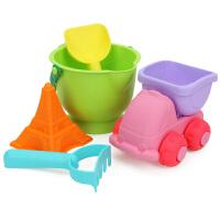 橙爱儿童软胶沙滩玩具5件套装 宝宝户外戏水玩沙挖沙桶车工具