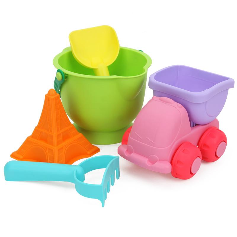 橙爱儿童软胶沙滩玩具5件套装 宝宝户外戏水玩沙挖沙桶车工具益智玩具限时钜惠