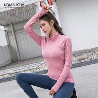 【折上1件8折/2件7.5折】Kombucha运动健身长袖T恤2019新款女士花边镂空弹力透气高领运动上衣JCCX478