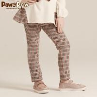 【2件2.5折 到手价:125】Pawinpaw宝英宝卡通小熊童装冬款女童格纹长裤儿童休闲直筒裤子