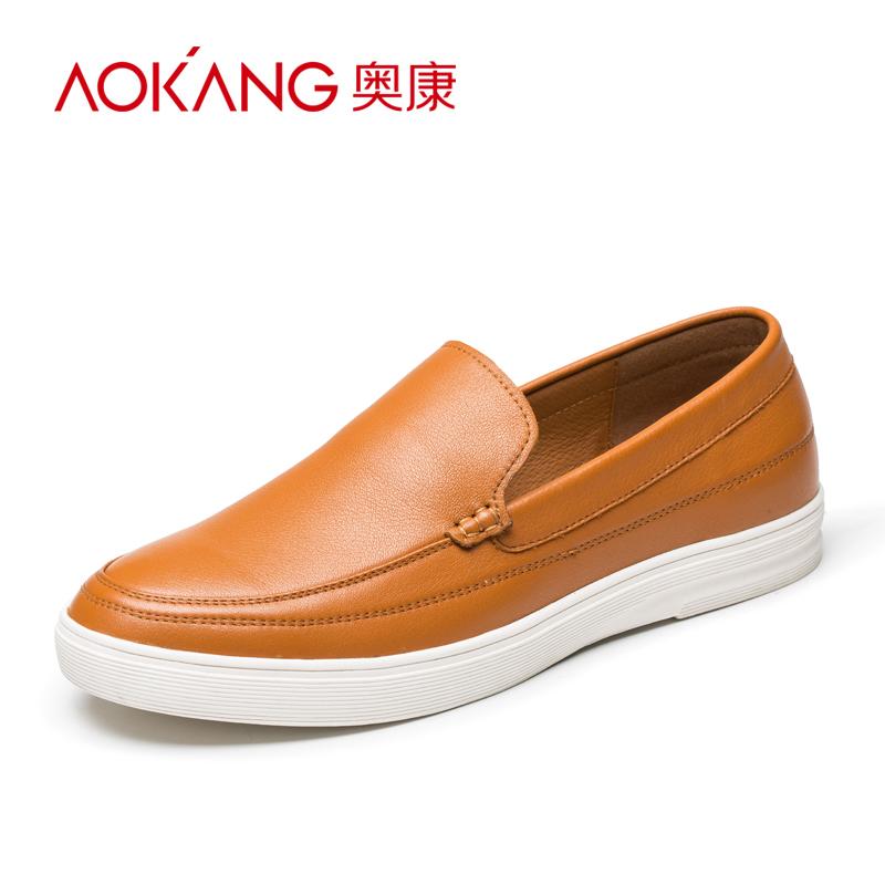 奥康乐福鞋男鞋休闲鞋英伦懒人板鞋真皮男士皮鞋潮此款偏大一码