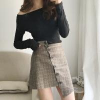 春装女装2018新款复古不规则格子A字裙高腰半身裙显瘦包臀短裙女 咖啡色格子
