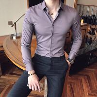 春季衬衫男长袖修身韩版潮流夜店帅气休闲衬衣时尚青少年打底