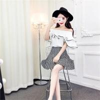 2018夏季显瘦时尚名媛一字领撞色荷叶边上衣+高腰格子A裙套装潮