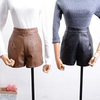 K@11秋冬季韩版新款高腰纯色后拉链PU皮短裤休闲裤潮