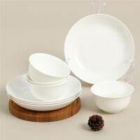 【当当自营】SKYTOP斯凯绨 碗盘碟陶瓷骨瓷餐具套装8头 白瓷圆形