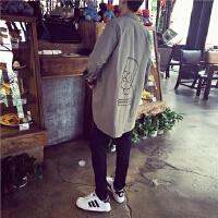 春季韩版中长款衬衫风衣男士卡通刺绣长衬衣休闲宽松薄款外套