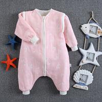 婴儿童宝宝春秋冬季分腿纱布睡袋可拆袖暖气空调房防踢被四季