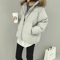 慈姑秋冬新款女装韩版宽松毛毛领连帽面包服短外套女学生休闲长袖