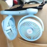 车内双头车载usb小风扇汽车用迷你电扇强力静音12v电动制冷大风量