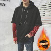 秋季男士韩版bf原宿风套头连帽卫衣青少年假两件宽松长袖运动外套