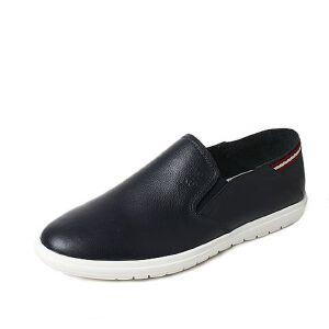 Tata/他她2017夏季牛皮时尚条纹边平跟懒人鞋男休闲鞋16201BM7