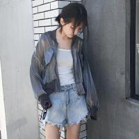 韩版春装女装个性透视棒球服外套短款拉链防晒衫灯笼袖开衫外套女