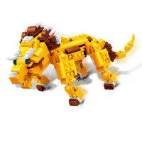 邦宝 创意拼插积木 儿童益智教玩具 动物三合一 三角龙=恐龙+老虎6852