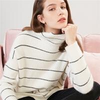 拉夏贝尔针织衫女新款时尚百搭宽松清新打底圆领条纹套头上衣毛衣