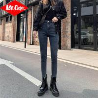 Lee Cooper春夏新款高腰牛仔裤女韩版修身显瘦小脚纯色弹力牛仔裤