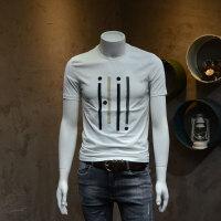 男士圆领短袖T恤衫男款电绣莱卡棉半袖t恤衫