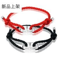 可刻字925纯银情侣手链一对 男女款红绳手绳定制韩版学生简约 学生手链一对编织手链刻字