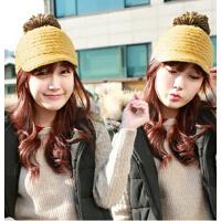 贝雷帽秋冬鸭舌帽毛线帽韩版潮冬季女士韩国可爱大毛球