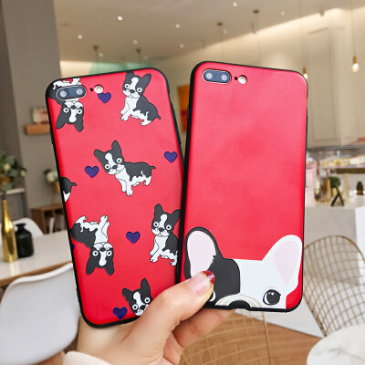 狗年苹果6手机壳iPhone7plus可爱大红i8新款6s硅胶挂绳壳X保护套