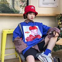 春季女装韩版原宿风个性印花棉麻短袖T恤上衣打底衫+格子长袖衬衣 均码