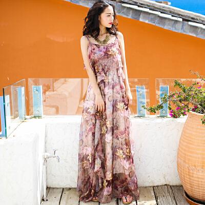 夏季新品女装无袖雪纺裙吊带裙连衣裙波西米亚长裙海边度假沙滩裙 图片色 X250 发货周期:一般在付款后2-90天左右发货,具体发货时间请以与客服协商的时间为准