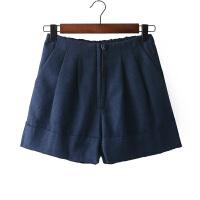 B12韩版纯色百搭半松紧高腰阔腿加厚毛呢短裤 宽松大码裙裤