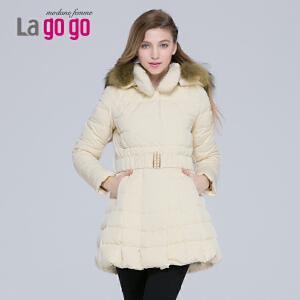lagogo拉谷谷冬季带帽毛领收腰羽绒服女中长款加厚