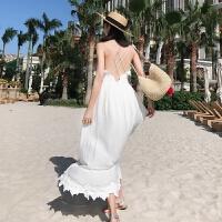夏季新款小白裙气质仙女裙泰国巴厘岛马尔代夫海边度假露背显瘦沙滩裙海滩裙性感吊带长裙 白色
