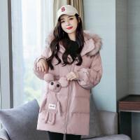 大毛领女秋冬韩版中长款白色棉袄宽松时尚棉衣厚外套