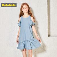 巴拉巴拉童�b女童�B衣裙�和�公主裙中大童裙子夏�b新款牛仔裙