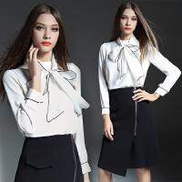 白领女秋装新款两件套职业装修身长袖OL面试女装工作服套装连衣裙