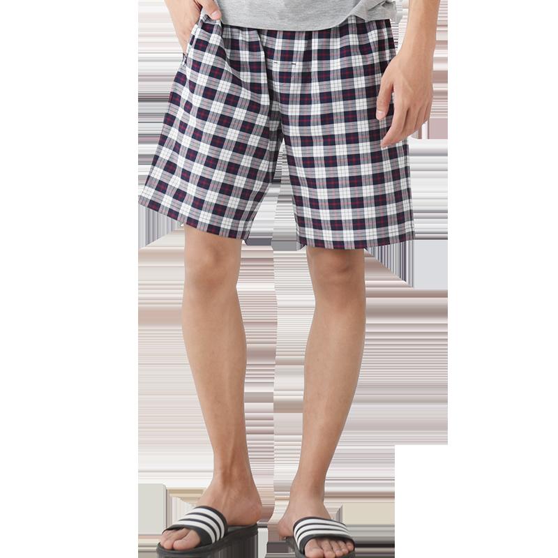 网易严选 男式梭织棉家居短裤全棉透气面料,经典时尚格纹