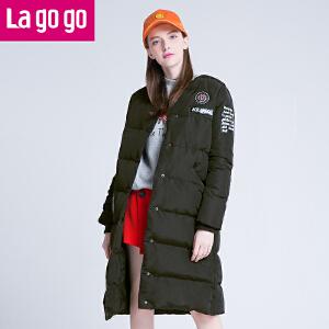 Lagogo拉谷谷2016年冬季新款时尚字母印花长袖羽绒服