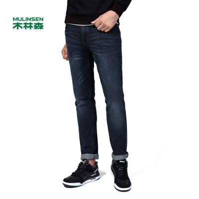 木林森男装 男士牛仔裤 韩版休闲百搭舒适男裤 深蓝色12374602四季可穿 厚度适中