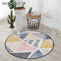 欧式简约现代几何图案圆形地垫 卧室房间吊篮圆毯家用电脑椅地垫