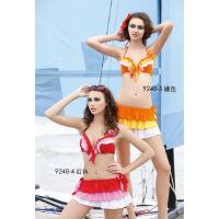 奇海女士游泳衣分体三件套红色L码QH9248-4