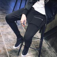 新款潮男士韩版修身小脚休闲哈伦裤男裤子个性立体口袋夜店夜场束