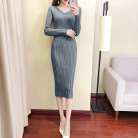 过膝毛衣裙秋冬季新款韩版女加厚修身中长款V领打底衫针织连衣裙 均码