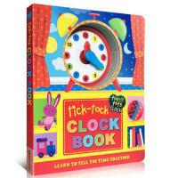 英文原版正版 Tick-Tock Clock Book 时钟纸板书儿童绘本图书读物 正确安排作息认识时间 亲子游戏转盘