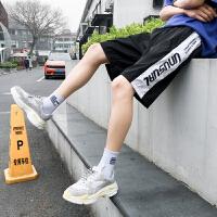 裤子夏季款男士休闲短裤纯棉侧边条纹印花运动休闲五分裤