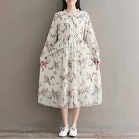 印花连衣裙2018春装新款民族风女装长袖衬衫袖大码宽松中国风裙子