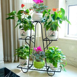 幽咸家居 欧式铁艺花架 落地式室内外阳台客厅多层绿萝吊兰花架
