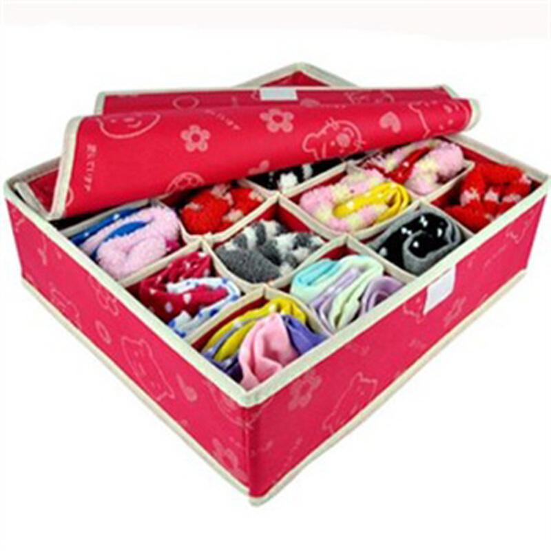 优芬 收纳盒 有盖内衣收纳盒16格红色熊头均码