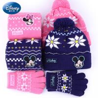 迪士尼儿童帽子围巾手套三件套 秋冬男女童宝宝帽子围脖套装