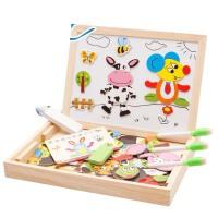 儿童磁性拼拼乐拼图男孩女孩宝宝积木益智玩具4-5-6岁 +43片学习磁贴