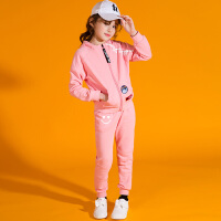 女童春秋运动套装2018新款韩版女大童装中大童连帽休闲儿童两件套 粉红色