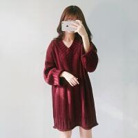 韩版新款V领毛衣女春季新款百搭学院风宽松套头连衣裙学生针织衫